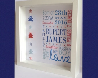 Personalised Baby Boy Birth Print Frame