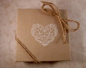 "White Floral Heart Embossed Jewelry Gift Box, 4"" x 4"" x 1"" Embossed Gift Box, Jewelry Gift Wrap, Valentines Day, Bridal Party, Shabby Style"