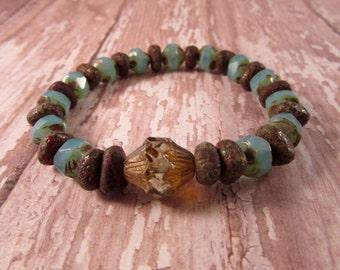 Aqua Stretch Bracelet, Stacker Bracelet, Czech Glass, Bohemian Bracelet, Boho Chic Jewelry