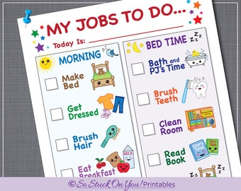 Routine Chore Chart For Morning And Bedtime   Instant Download   Printable    Kids Can Keep  Daily Routine Chart Template