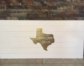 Rustic Pallet Wood Texas Wedding Guestbook Alternative Wooden Wedding State Guest Book