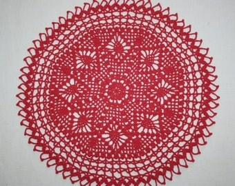 Coral Pineapple Crochet Doily, Round Doily, Pineapple Doily, Crochet Table Topper, 13 inches