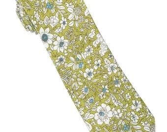 Lime Floral Skinny Tie