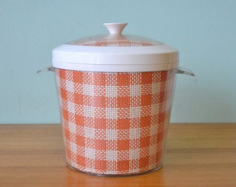 Retro plastic ice bucket orange and white gingham