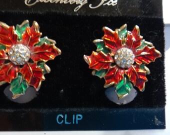 Vintage Eisenberg Ice Pointsettia Clip earrings