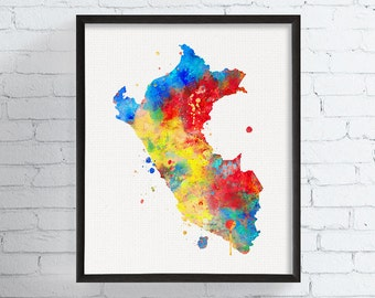 Peru Map, Watercolor Map Print, Map Poster, Peru Wall Art, Travel Print, Framed Art, Custom Color, Country Map, Countries, Peru Silhouette