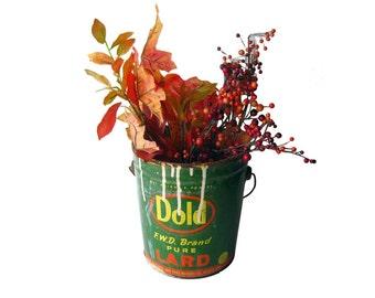 Shabby Chic Dold Lard Bucket / Vintage Tin / Vintage Advertising / Vintage Home Decor