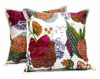 "Kantha 100% Cotton Pillow Covers Set of 2 in White/Multi 16"" X 16"" Handmade Decorative Pillows"