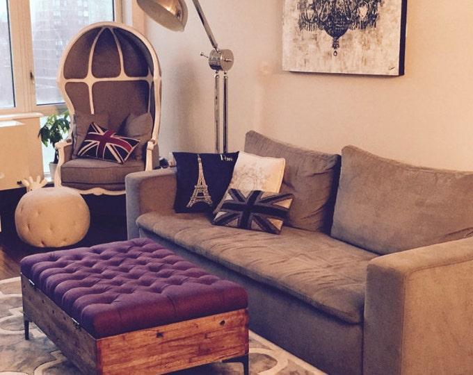 Upholstered  Storage Ottoman, Linen Ottoman, Reclaimed Oak Ottoman, Coffee Table Ottoman, Rustic Ottoman, Handmade in Oklahoma
