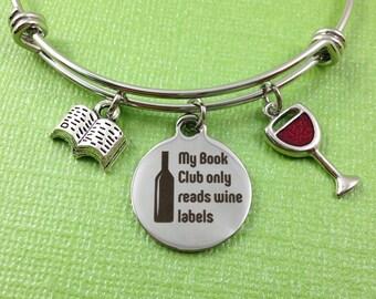 Book Club Charm Bracelet, Book Club Bangle, Book Club Gift, Book Club Jewelry, Book Charm, Wine Glass Charm
