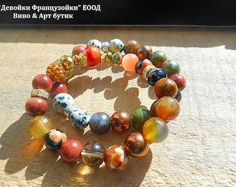 Agate Jade Unakite Dalmatian Jasper Beaded Women Gemstone Bracelet Set, Healing Stone Yoga Bracelets, Boho Bohemian Fashion Jewelry