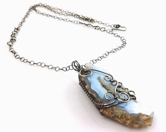Blue Druzy Slab Pendant Necklace, Bohemian Wire Wrapped Necklace,  Blue Lace Chalcedony with Whimsical Sterling Silver Swirls