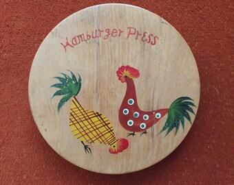 Vintage Wooden Hamburger Press