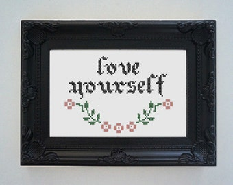 Framed 'Love yourself' cross stitch (inspired by Justin Bieber)