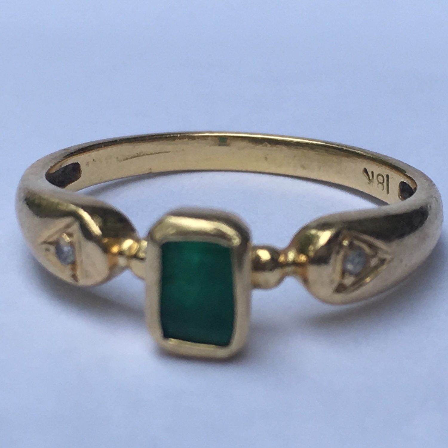 antique emerald and ring 18k yellow gold unique