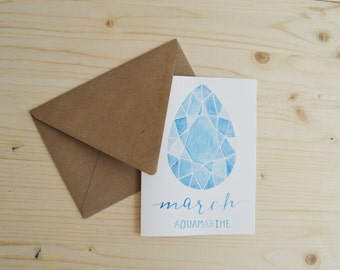 March Card- Aquamarine Card- Birthstone Card- March Birthstone Card- March Birthday Card- Aquamarine Gemstone Card- Gemstone Card