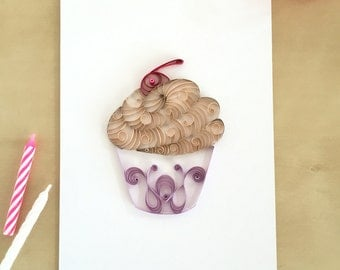 Quilling Paper Tan and Purple Cupcake Home Decor, Chocolate Cupcake Art, Purple Nursery Art, Playroom Decor, Sweet Kids Room Decor