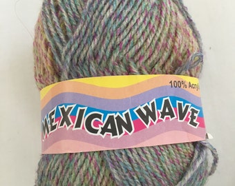 Discontinued Elle - Mexican Wave - multi colored DK weight Acrylic yarn - color 25 Green/Yellow/Purple/Pink