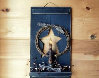 Primitive Decor, Primitive Shutter Shelf w/timer candle, Star & Wreath,  Shutter Shelf, Wall Decor, Wall Hanging, Handmade, Made in USA