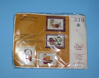 Vintage The Creative Circle #210 Popcorn and Donuts Cross Stitch Kit Crafts