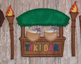 Hawaiian Tiki Bar Dress UP felt unpaper paper dollPlay set-Bar, 2 torches, 2 coconut drinks & Tiki statue custom colors at no additional fee
