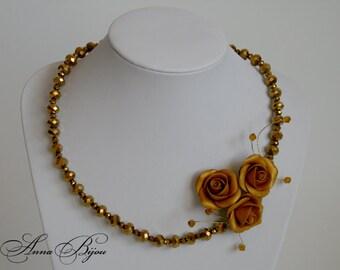 SALE 20% Polymer clay jewelry. Handmade polymer clay flower necklace.