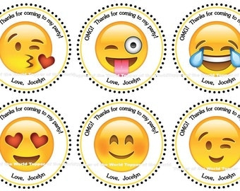 12 Personalized Emoji smiley face Birthday Party Favor Thank You Tags or Stickers You Choose