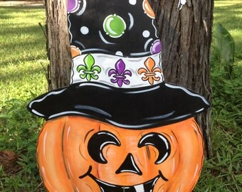 Pumpkin Door Hanger Witch Hat Fleur de lis Halloween Fall Door Hanger Door Wreath Decoration Jack-o-Lantern