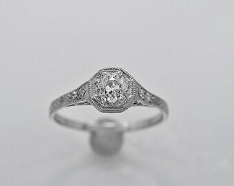 Antique Engagement Ring .55ct. Diamond & Platinum Art Deco - J35783