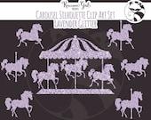 Lavender Glitter Carousel Clip Art Set - Personal & Commercial Use