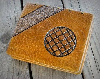 Handmade carved wooden covers wedding guest book / ready to ship