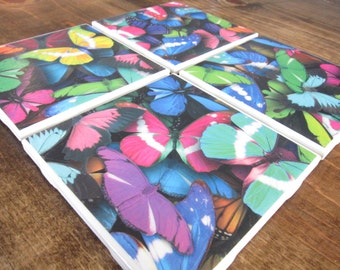 Set of 4 Butterfly Tile Coasters