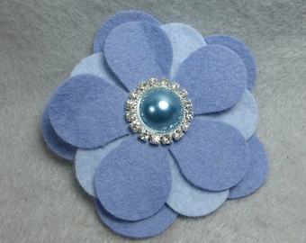 Felt Flower Barrette - Blue Felt Hair Clip