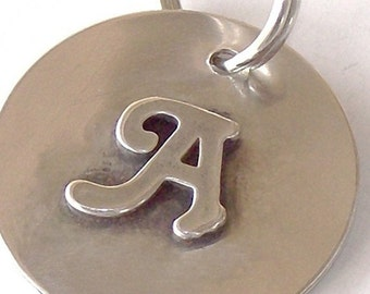 Sterling Silver Initial Dog ID Tag in Two Sizes - Custom Pet Tag, Pet ID Tag - Tags for Dogs