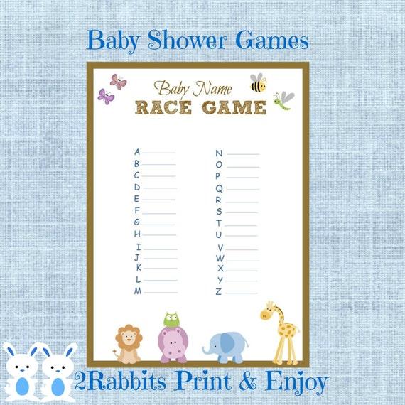 safari jungle animal baby shower baby name race game jungle animal