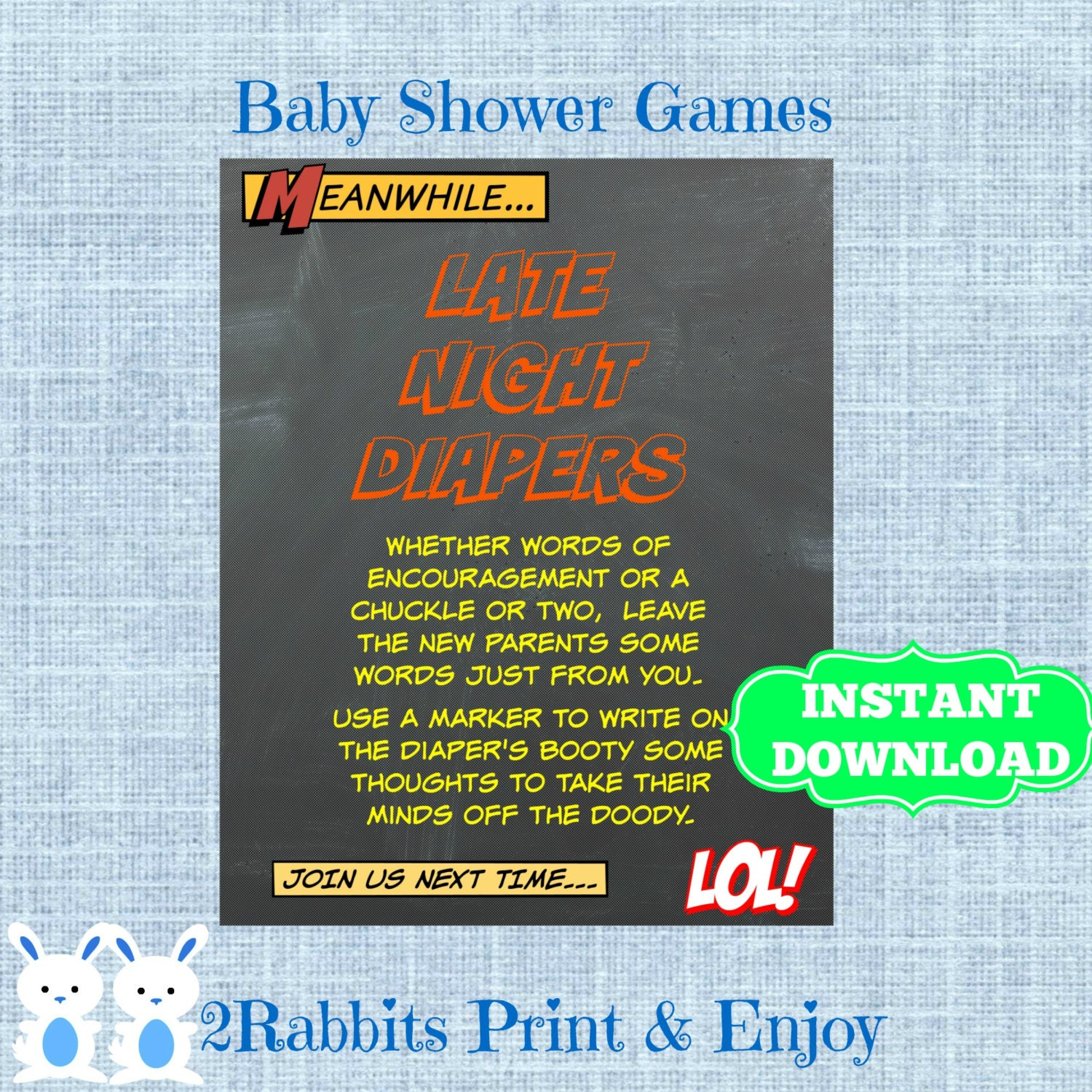 Superhero Late Night Diapers-Baby Shower Sign-Write On