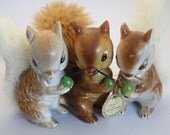RESERVED FOR L - Retro Squirrel Figurines with Real Fur Accents - Collection of Three