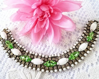 1950s HARD TO FIND Collour Comb  Milk Glass, Green Crystal & Rhinestone Vintage Bracelet