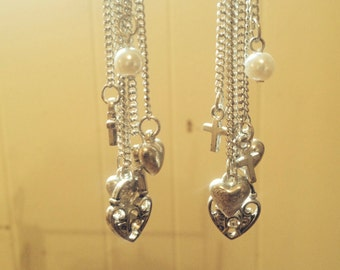 Chandelier Earrings with Silver Chain Hearts and Pearls