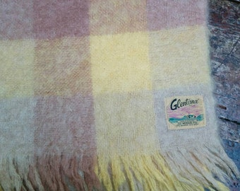 Beautiful vintage Glentana mohair throw made in Scotland creamy yellow and tan