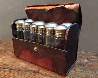Antique Leather Apothecary Field Kit
