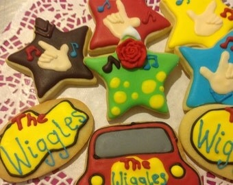 24 The Wiggles Iced Cookies.