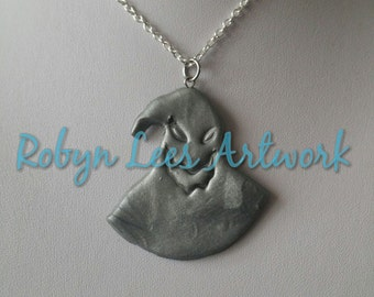 Silver Polymer Clay Nightmare Before Christmas Style Oogie Boogie Monster Necklace on Silver Crossed Chain