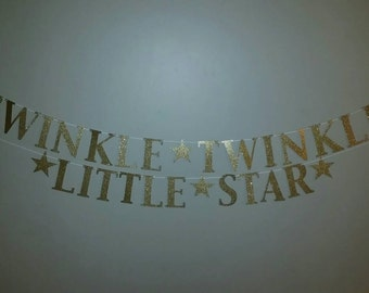 Twinkle Twinkle Little Star Banner, twinkle twinkle little star garland, lullaby baby shower, lullaby nursery banner