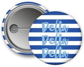 TriDelta Delta Delta Delta Stripe Sorority Greek Button