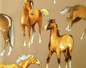 Fabric, Love of Horses in Taupe, Alexander Henry, Last 31 Inches