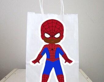 Superhero Goody Bags, Superhero Favor Bags, Superhero Birthday Party Bags - Spider Hero, African American