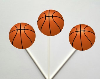 Basketball Cupcake Toppers, Basketball Birthday Cupcake Toppers
