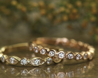 Bezel Set Bubble Band and Marquise and Dot Diamond Wedding Bands, 3/4 Eternity, Stacking Bands, Stackable, Cadence C & Natalie R