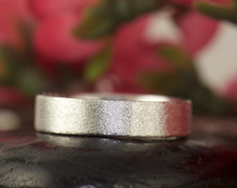 Men's Wedding Band in Sterling Silver with White Gold Overlay, Satin Finish, 6mm, Stackable, Comfort Fit, Mark B